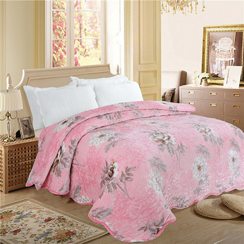 Printed Velvet Bed Quilts, cozy velvet bedspreads for winter season