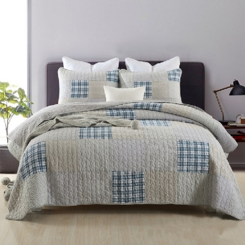 Printed Cotton Bed Quilts Set Cozy Lightweight