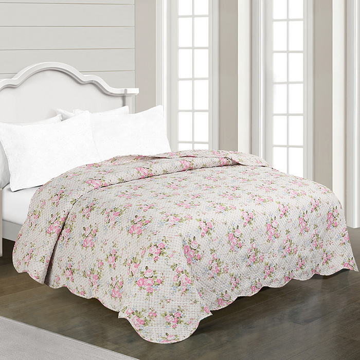 Printed Bed Quilts Set with Shams and Decorative Pillow