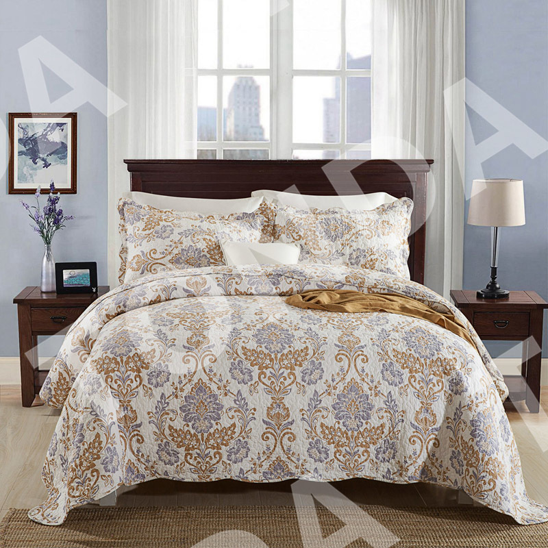Quilted Bedspread Printed Quilt  Microfiber Home Bedding Collection