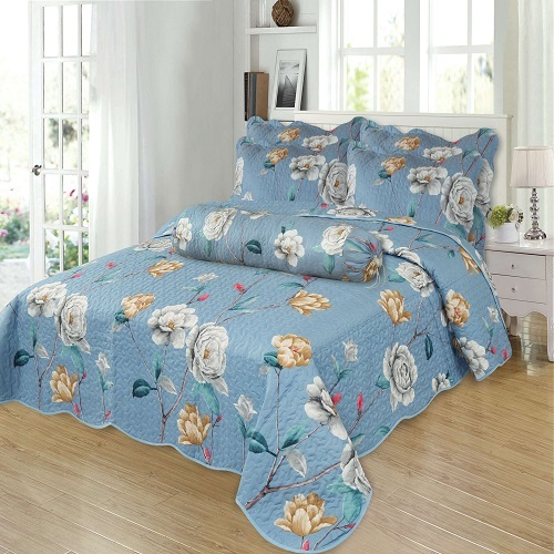 Printed Color Bedspread Microfiber Quilts with Flower Pattern Series
