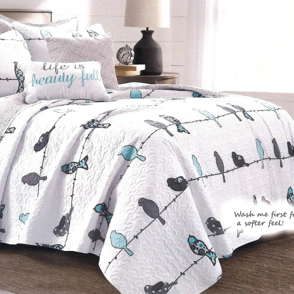 Polyester Printed Bedspread Microfiber Quilt with Fresh and Natural Style